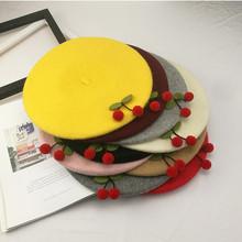 日系复古森女手工樱桃羊毛呢贝雷帽 软妹甜美气质蓓蕾帽画家帽子