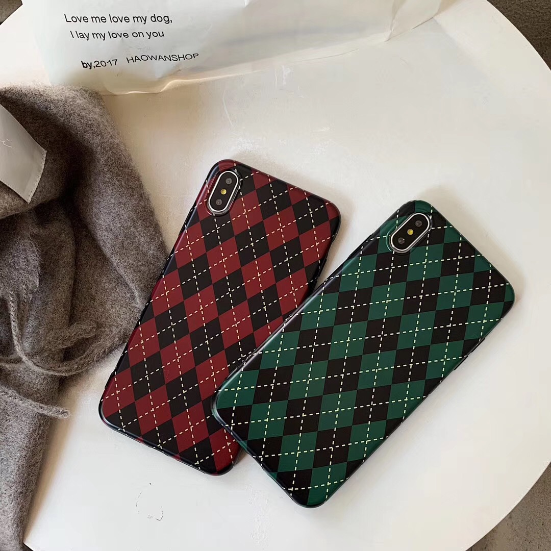 Korea with the same Christmas plaid for iPhoneX mobile phone shell Apple 8/7plus creative all-inclusive anti-fall female