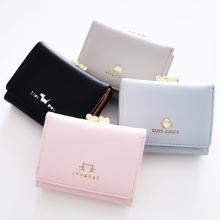 Factory direct sales new Korean style simple short wallet women three fold cute mini coin purse small fresh wallet