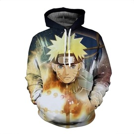 Winter new casual men's sweater 3d printing fire shadow Naruto hooded men's sweater men's clothing