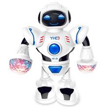 Robot điện nước ngoài câu đố với âm nhạc ánh sáng chói mắt vũ trụ robot đồ chơi trẻ em một thế hệ Búp bê điện