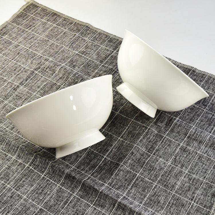 陶瓷餐具 纯白骨瓷家用米饭碗高脚面碗