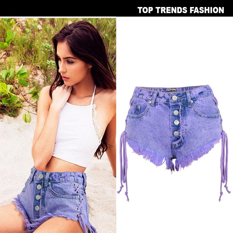 欧美女装亚马逊夏季高腰排扣磨破双侧绑带女士马卡龙紫牛仔热裤