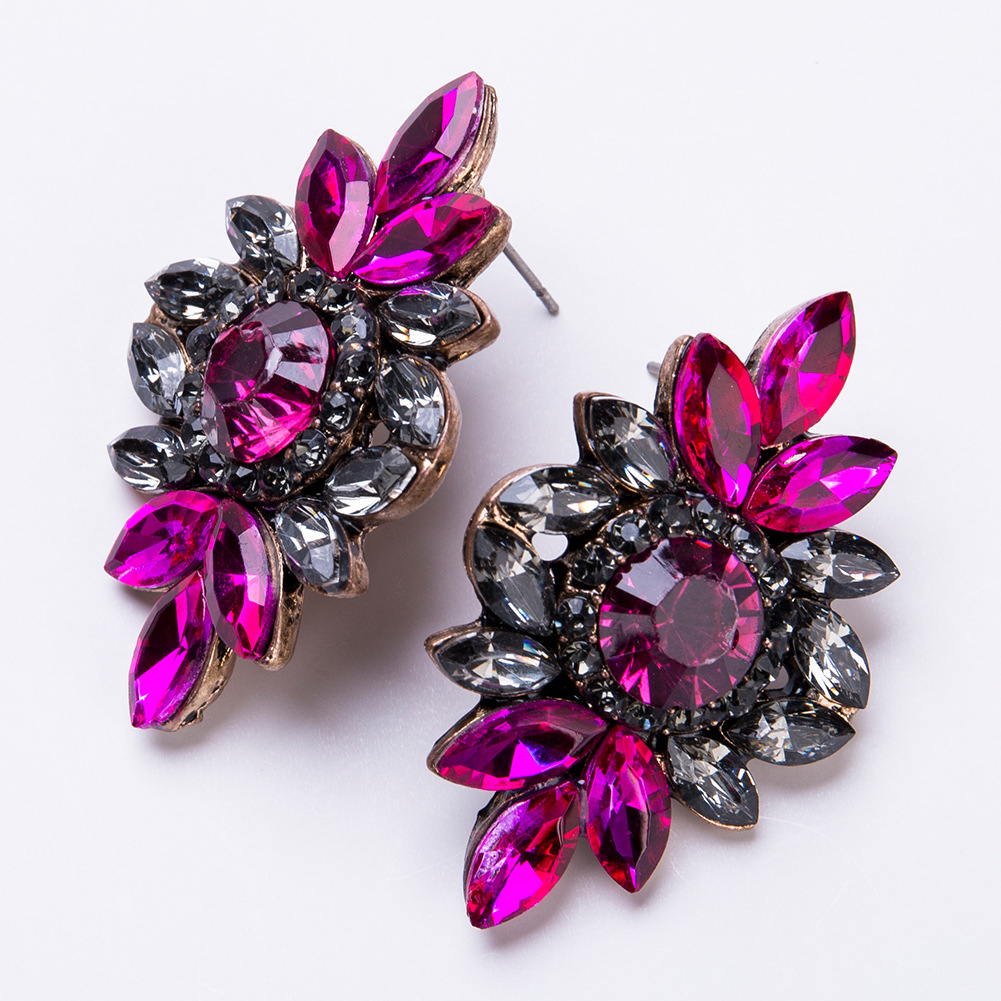 Fashion Alloy Diamond earring Flowers (red)NHJE1092-red