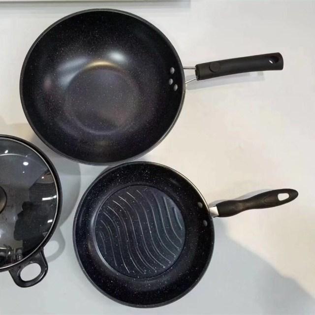 Nồi và chảo không dính chảo nồi với ba mảnh phù hợp với một gia đình bốn đá y món quà nồi bancassurance Bộ dụng cụ nấu ăn