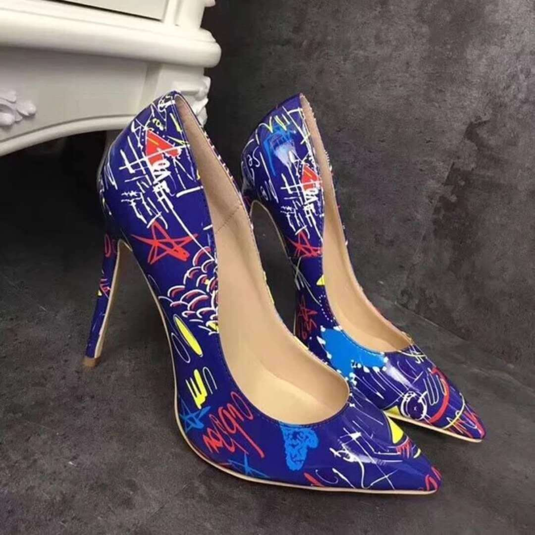 Women Pumps Stilettos High Heel Pointy Toe Flower Print Shallow Mouth Shoes USA