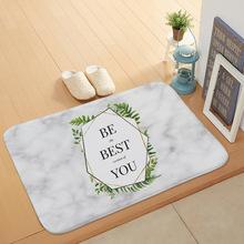 大理石背景风格英文字母珊瑚绒地垫 可定制入门脚垫家居地毯