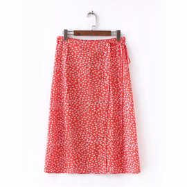ins同款2018夏季新款法式风情复古碎花红色碎花裙系带半身裙长裙