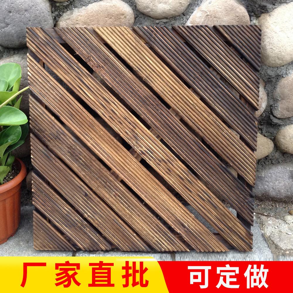 安吉工厂直销户外拼接地板阳台公园装饰地板碳化防腐木地板定制