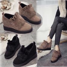 秋冬新款女平底单鞋内增高厚底加绒毛毛鞋韩版坡跟兔毛豆豆棉鞋女
