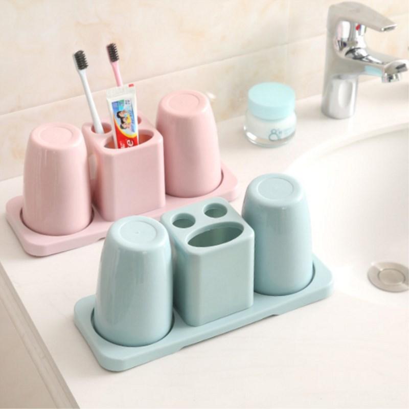 创意牙刷架洗漱套装双人漱口杯牙具座情侣牙膏架卫生间置物收纳架