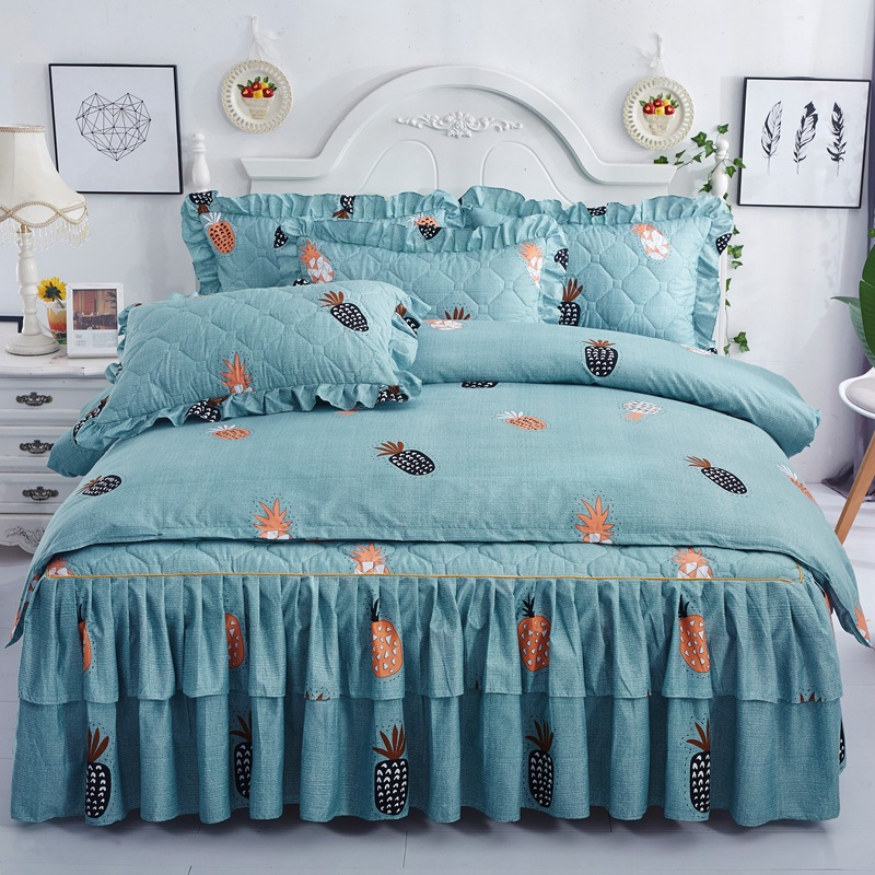 Clip cotton bed skirt 4 sets thicken bedspread bedclothes 3 sets lace bedspread bed cover bedding cover manufacturer direct selling