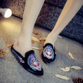 Spring women's slippers Chinese style low-heeled comfort cloth slippers pointy slippers embroidered women's embroidered shoes summer sandals