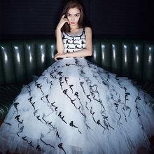 angelababy楊穎同款吊帶重工黑白撞色網紗亮片禮服伴娘連衣裙女潮