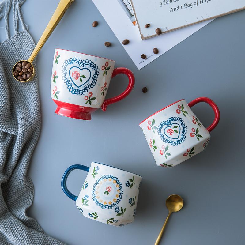 复古手绘樱桃家用陶瓷咖啡创意情侣奶茶马克杯大容量办公送礼潮州