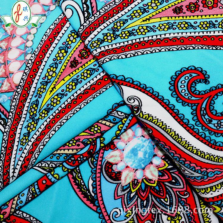 针织面料 数码印花面料  尼龙弹力内衣泳衣布料 复古风非洲印花布