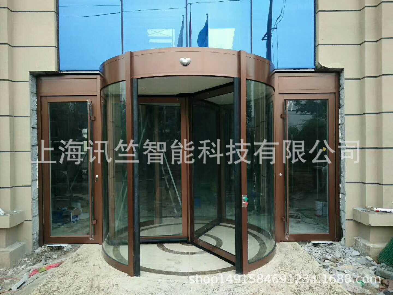 台州市旋转门定制厂家 玫瑰金环柱旋转门大厦旋转门安装销售