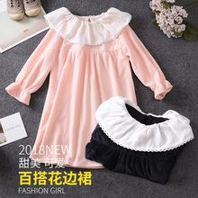 2018韓版公主裙 新款翻領娃娃裝  時尚可愛女童連衣裙兩色