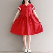 18夏季新款學院風拼接短袖中長款女裝娃娃領系領結學生棉麻連衣裙