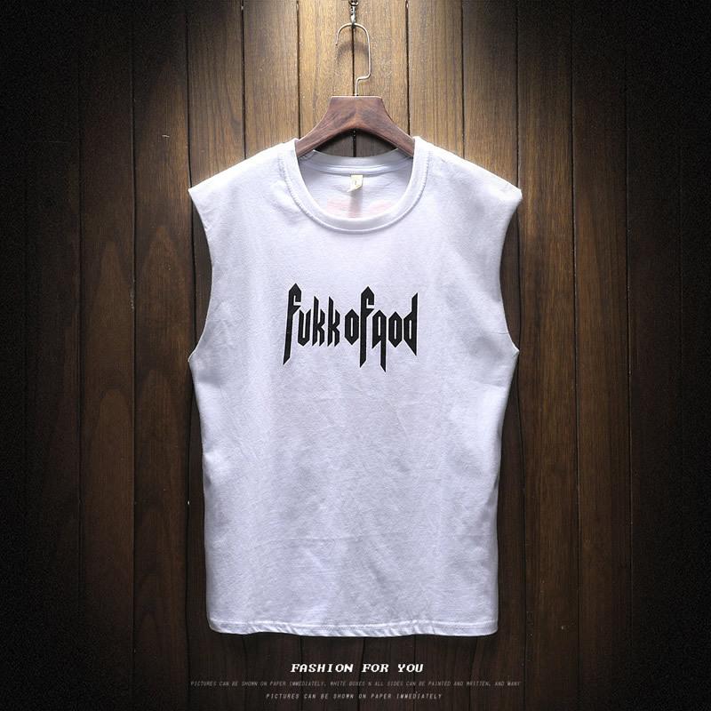 厂家直销2018新款男式无袖T恤宽松大码字母印花夏季上衣