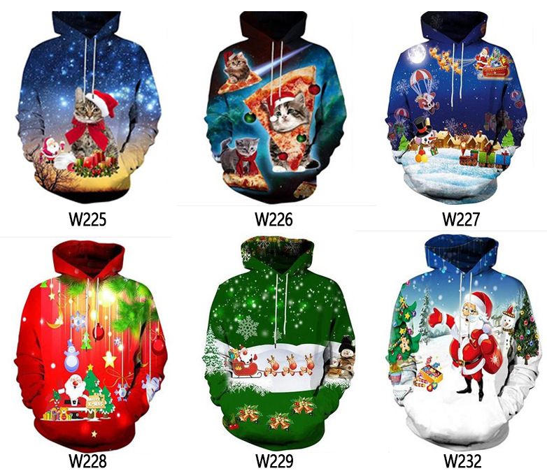 Men's cross border foreign trade autumn and Winter Christmas collection 3D digital printing men's hooded Pullover Sweater Coat