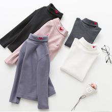 外貿韓國童裝秋冬男女童t愛心刺綉高領兒童打底衫純棉寶寶T恤衫