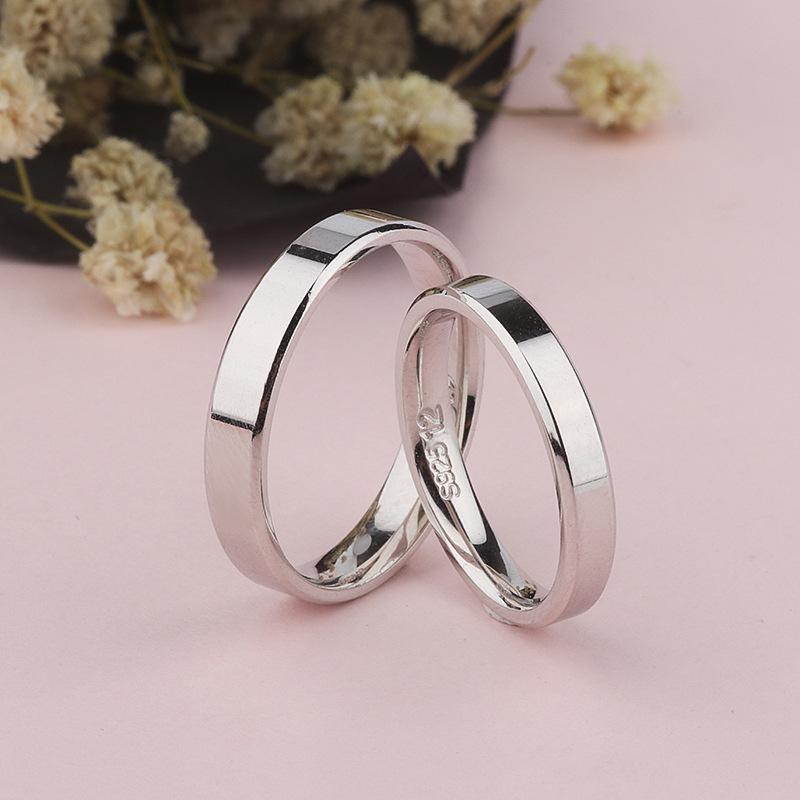 开泰丰S925纯银镀白金戒指纯纯的爱情侣对戒饰品光面指环首饰批发