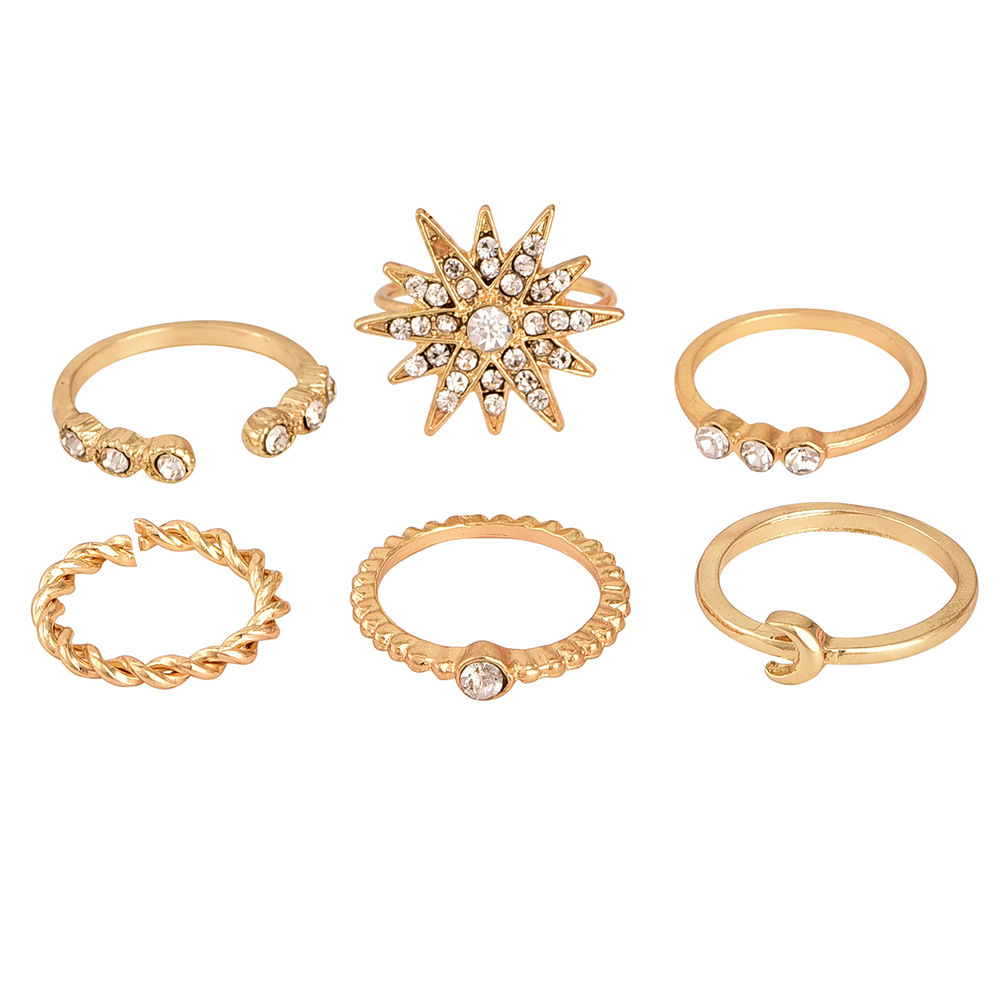 Popular new full diamond star moon ring set wholesale  NHAJ251749