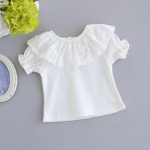 2-6歲寶寶短袖全棉T恤女童裝打底衫夏季兒童上衣中小童花邊打底衣