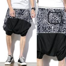 2017夏季新款男式休閑褲沙灘褲蝙蝠掉檔 中國風拼色短褲一件批發