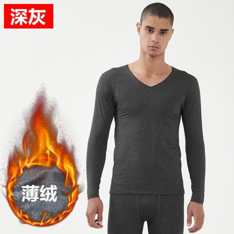 Mùa thu đông nam đồ lót liền mạch nhiệt trẻ trung thanh lịch Slim V-cổ Qiuyi Qiu quần đáy áo len mỏng