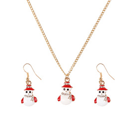 Douyin popular decorations Christmas suit simple personality Santa Claus tree bell lucky necklace set