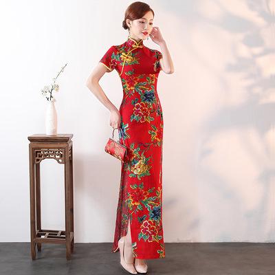 Cheongsam performance dress large size show long dress female nationality