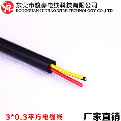 3*0.3平方硅胶电缆线 黑色三芯耐高温护套线220V铜芯插头电源线