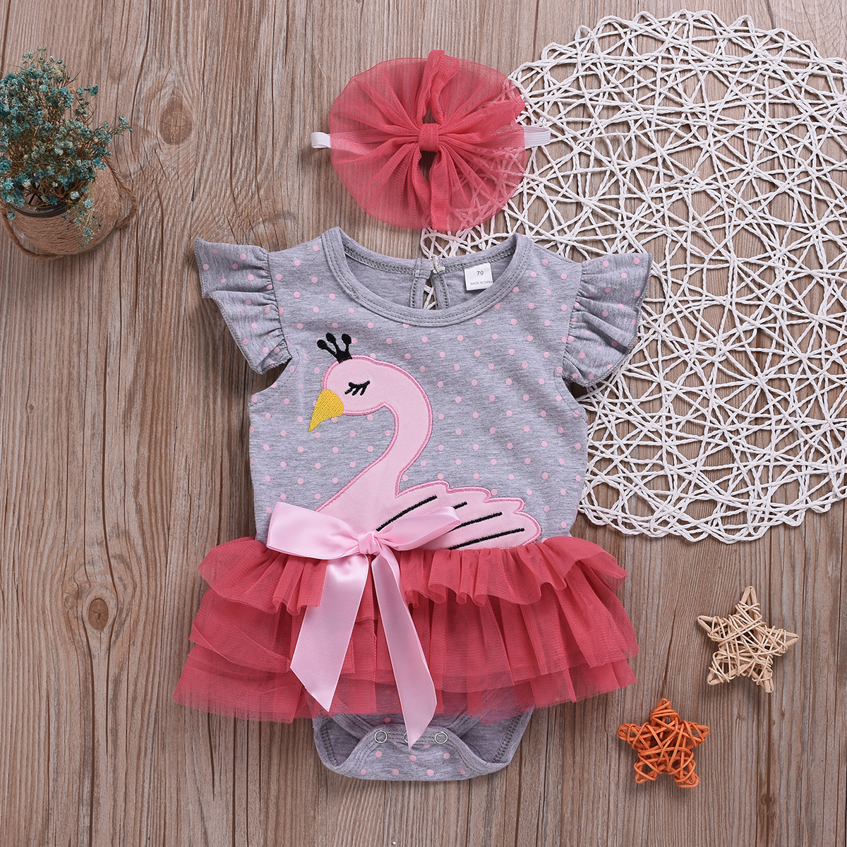 a9b34bed3 2019 Newborn Baby Girls Bow Swan Romper Jumpsuit With Headband ...