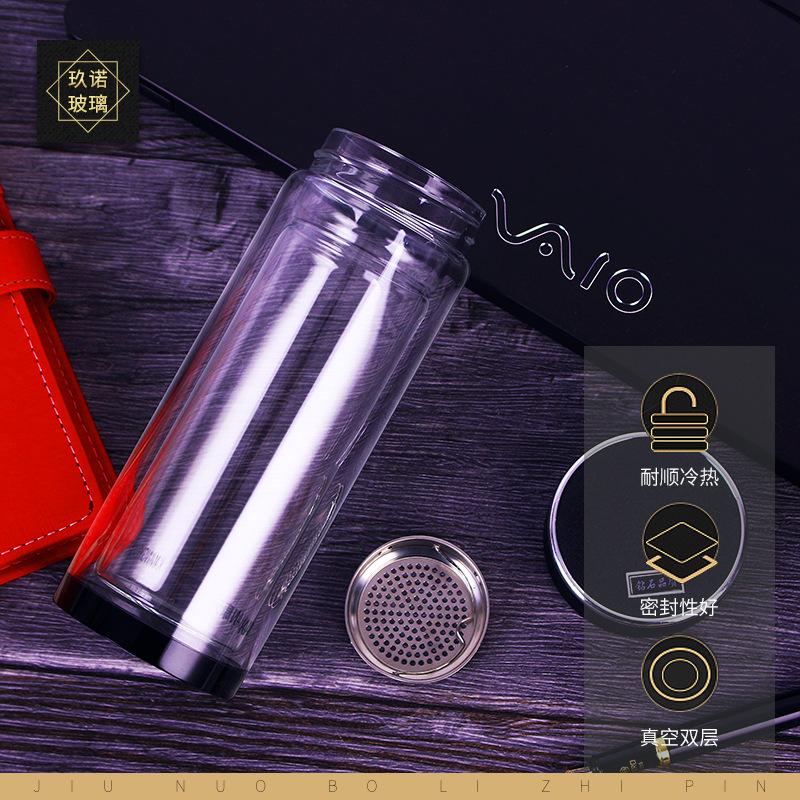 玻璃杯双层透明水晶杯商务办公茶杯带盖水杯 办公礼品广告杯批发