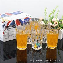 批發透明玻璃水杯飲料杯套裝 高白料鉆石禮品杯牛奶杯六件套批發