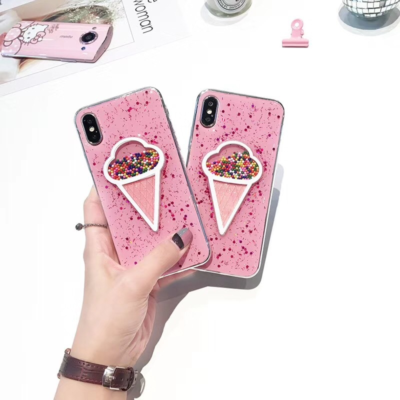 Korean ice cream iPhoneX creative mobile phone shell Apple 8 pink tpu Epoxy glitter mobile phone case