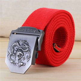 JSH Year of the Pig, the birth of the red belt, men's automatic buckle canvas thickening, casual red belt, long red
