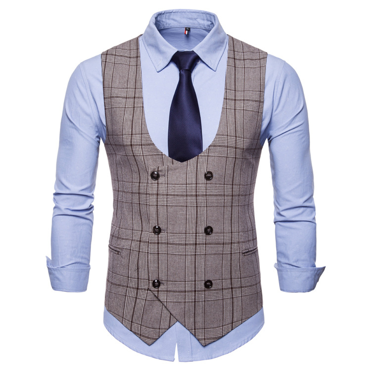 Spring and autumn new style men's u-neck checked print double-breasted casual vest fashionable men's large size vest small coat
