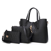 2019新款女包欧美时尚潮流女士单肩包鳄鱼纹手提包三件套子母包