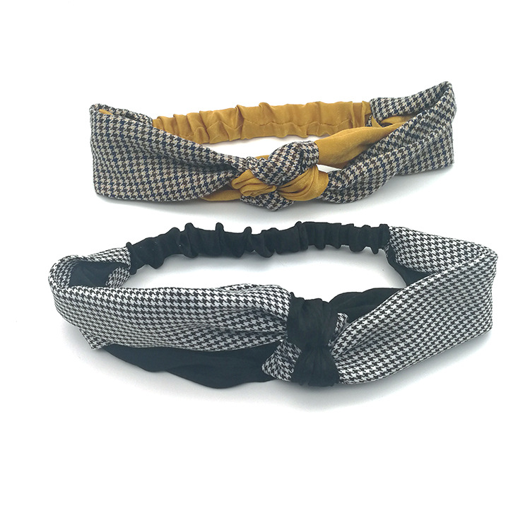Simple Headdress Houndstooth Hair Band Check Headband Headband Knotted Headband Cross Headband NHSA201225