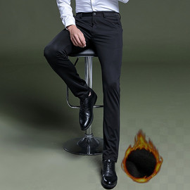 Autumn and winter men's casual pants plus velvet trousers men's trousers business self-cultivation youth four-sided elastic generation
