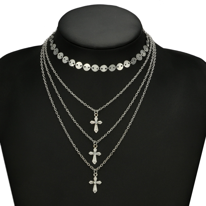 Alloy Fashion Cross necklace(Golden) NHGY1778-Golden