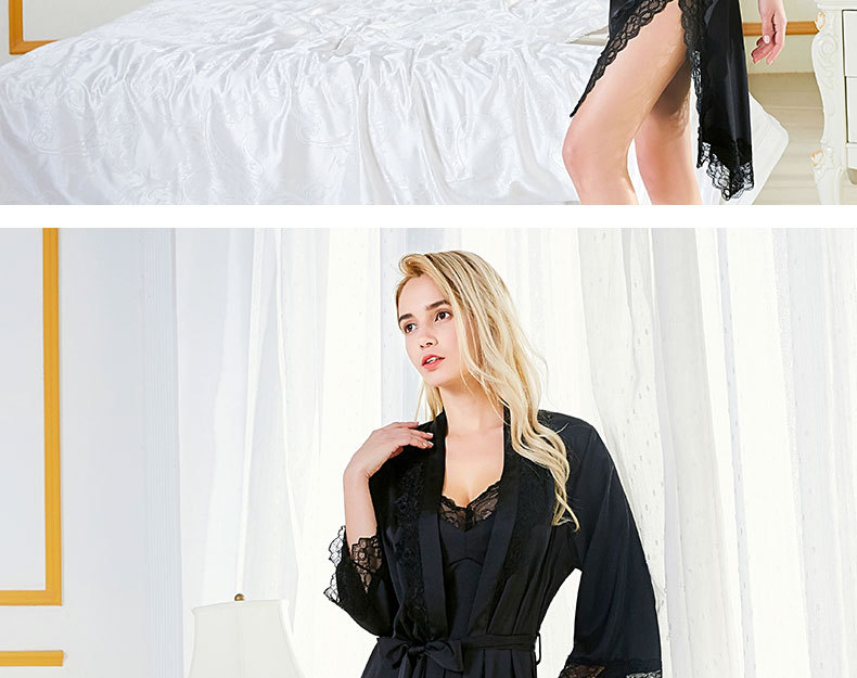 New home service sling pajamas nightgown two-piece lace ribbon chest pad sexy women's pajamas NHMR204780