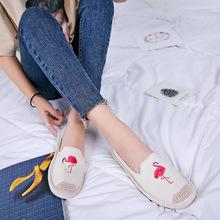 2018新款女刺绣帆布鞋女编织平底吸汗透气小单鞋渔夫鞋厂家批发