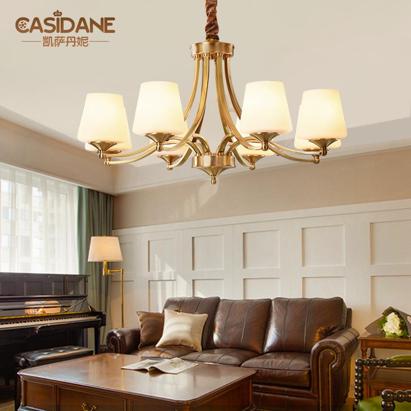 美式铜吊灯客厅灯具乡村全铜灯现代简约卧室书房餐厅铜吊灯具1119