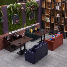 复古皮艺咖啡厅沙发音乐主题西餐厅双人沙发卡座酒吧沙发桌椅组合