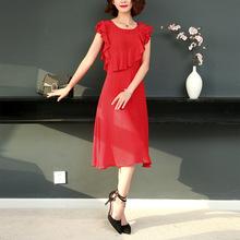 真丝连衣裙2019年夏季新款女装欧美晚礼服时尚大牌杭州真丝连衣裙