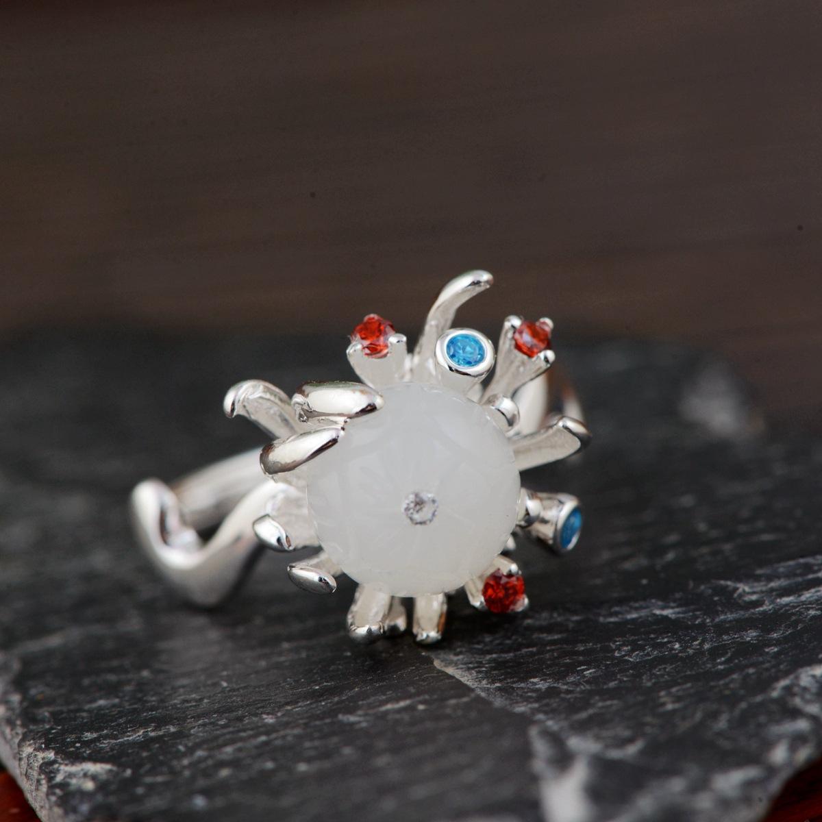 金鹿王S925银素银工艺银戒指批发银镶嵌和田玉花卉时尚开口银指环